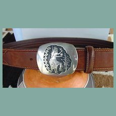 Highly Collectible Vintage Native American Hopi Belt Buckle Sterling Silver Overlay Signed YOYOKIE
