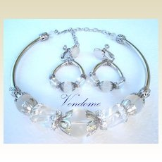 Spectacular Vintage VENDOME SET Clear Ice Lucite Jelly Ribbed Barrel Beads Choker Earrings Signed