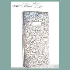 Antique 950 Silver 6+Inches Sterling European Cigarette Case Engraved Art Nouveau Billfold Wallet
