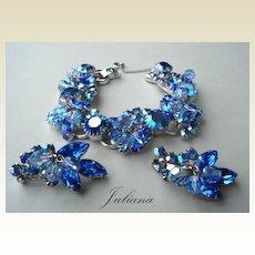 Vintage Chunky Juliana D&E Bracelet & Earring Set Sapphire Blue Rhinestones Aurora Crystal Dangles