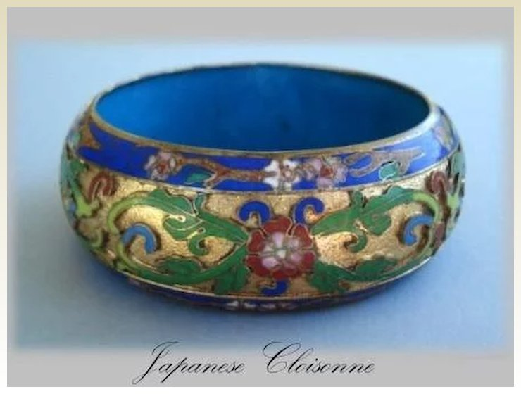 Early 1900 S Wide Anese Cloisonne Bracelet Gold Background Vibrant Fl Design Deeply Carved