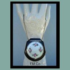 FM Co. Black Enamel Purse-Shaped Compact Guilloche Enamel Flowers Wrist Chain