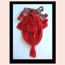Fabulous 1920's Red Glass Beaded Reticule Flapper Drawstring Purse with Pom Poms & Fringe