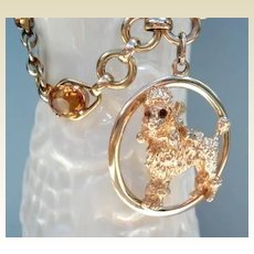 Vintage Bracelet 14K Yellow Gold Large POODLE CHARM with Citrine Gemstones November Birthstone
