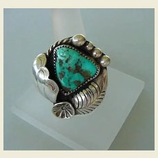 Signed Tsosie Vintage Native American Turquoise Ring Exquisite Floral Shell Overlays Sterling Silver