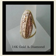 Vintage 14K Yellow Gold & Diamond Long Ring Native American Style Feather Marked