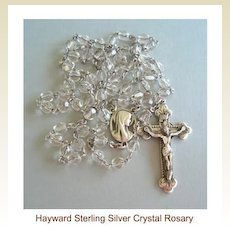 Vintage Hallmarked Hayward Sterling Silver Cut Crystal Bead Rosary Filigree Floral End Caps