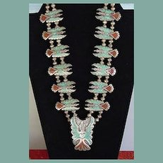 Highly Collectible Vintage Peyote Bird Squash Blossom Necklace Signed Sterling Turquoise & Coral Inlay
