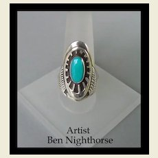 Unusual Designed Vintage Native American Cheyenne Ring Turquoise Sterling Signed Ben Nighthorse