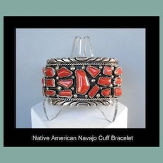Large Vintage Show Stopping Native American Navajo Coral Cuff Bracelet Sterling Signed