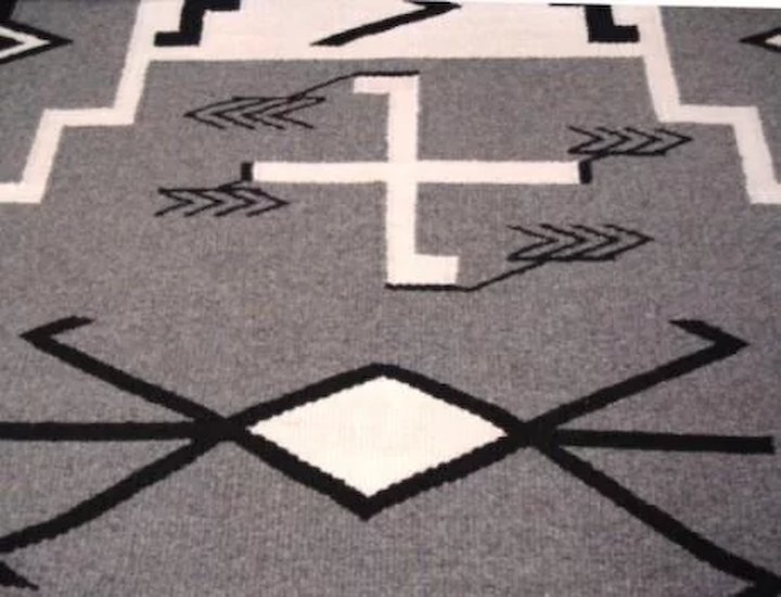 Excellent Native American Navajo Rug Storm Pattern Fine Weave 32 X