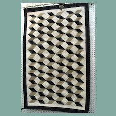 "Vintage 1950's Native American Navajo Rug 3-D Cubist Geometric Heavy Weave 36"" x 56"""