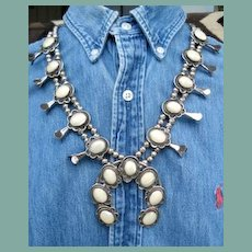 Exquisite Vintage Native American Navajo Squash Blossom Necklace Glowing Mother of Pearl Sterling Silver