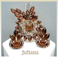 Juliana D&E Set Glitzy Black Diamond & Smoked Topaz Rhinestones Unfoiled Navettes Brooch Earrings