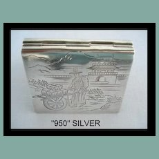 Rare Antique Marked 950 Silver Engraved Japanese Compact Unusual Book-Shape