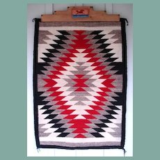 "Vintage 1950's Native American Navajo Rug Eye Dazzler Pattern 36""x51"" Red Black White Grey-Brown"