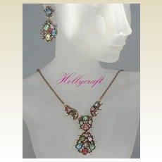 Vintage HOLLYCRAFT 1951 Demi-Parure Set Choker & Dangle Earrings Signed Pastel Rhinestones Pearls