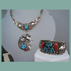 Magnificent Vintage Native American Set COLLAR Necklace with Pendant & Cuff Bracelet Sterling Signed