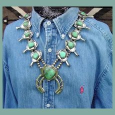 Unusual Vintage Native American Squash Blossom Necklace Vase Design Flowers Green Turquoise Sterling Silver Navajo
