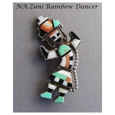Fabulous Large Vintage Native American Zuni Rainbow God Brooch Pin Inlaid Stones Sterling Silver
