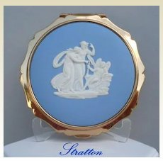 Rare Vintage STRATTON England Compact Josiah Wedgwood White Cameo on Blue Jasperware Mythology
