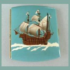 Fantastic Antique German Cigarette Case Clipper Ship Switzerland Flag Enamel Marked Excellent Condition