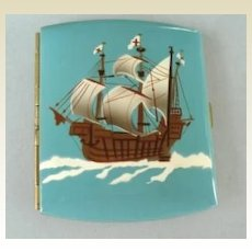 Fantastic Antique German Cigarette Case Clipper Ship Switzerland Flag Enamel Marked Excellent Condition