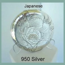 Antique Marked 950 Silver Engraved Japanese Compact Flowers & Characters