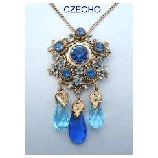 Exquisite Vintage Czechoslovakia Pendant Necklace Enamel Forget-me-Knots Sapphire Rhinestones Briolette Crystal Dangles Seed Pearls