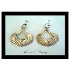 Highly Collectable 1950's Vintage Earrings Native American Kenneth Begay Dangles Sterling Convertible Backs