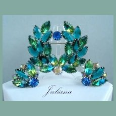 Juliana D&E Set Demi Several Colors Combined in One Stone Unfoiled Navettes Brooch Earrings