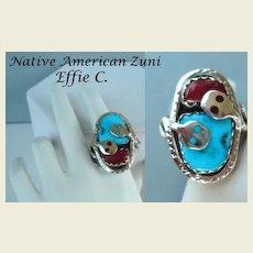 Signed Vintage EFFIE C. Native American Zuni Snake Ring Sterling Turquoise & Coral Signed
