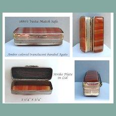 Antique 1880's Pocket Vesta Match Safe Amber Color Translucent Banded Agate & Silver