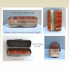 Antique 1880's Pocket Vesta Match Safe Amber Color Translucent Banded Agate & Silver