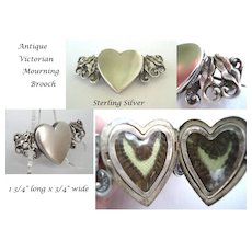 Antique Victorian Mourning HAIR Brooch Sterling Silver Double Sided Heart Shaped Locket  C1800s