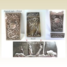 Antique Pocket Vesta Match Safe Japanese Repousse Coin Silver Cherry Blossoms Hallmarks
