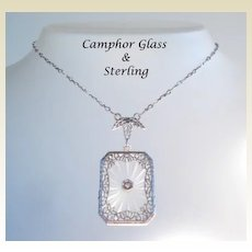 Antique Victorian Sterling Silver Filigree Camphor Glass Pendant Necklace Exquisite Marked Clasp