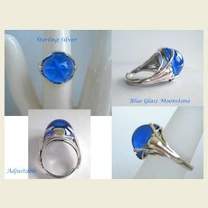 Unusual 1930's Vintage Art Nouveau Blue Domed Moonstone Ring Sterling Silver Starfish Inside Marked
