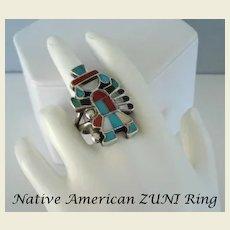 Vintage Native American ZUNI Eagle Dancer Ring Multiple Stone Inlay Sterling Signed