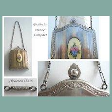 Vintage Dance Compact Guilloche Enamel Flowers Silver Chain Handle Double Compartments Rouge & Powder