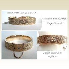 Vintage Victorian F.M. Co. 12K Gold Filled Bangle Taille d'Epargne Bracelet Safety Chain Hallmarked