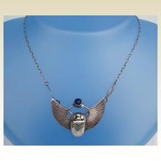 Late 1800's Egyptian Revival Scarab Beetle Necklace Sterling Pushing Lapis Food Ball Marked