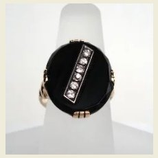 Men's or Women's Vintage 1920's 14KT Gold Art Deco Diamond Onyx Ring Hallmarked