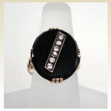 Men's or Women's Vintage 1920's 14KT Gold Art Deco Diamond Onyx Ring Hallmarked