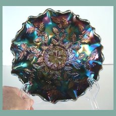 FREE U.S. SHIPPING Vintage Fenton Ruffled Edge Bowl Holly Design Carnival Glass Peacock Colors