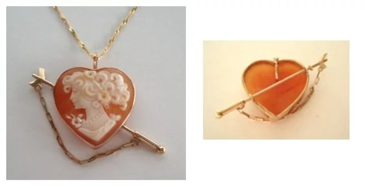 Vintage valentine 14kt gold italian heart shape carved cameo brooch vintage valentine 14kt gold italian heart shape carved cameo brooch pendant arrow pin clasp aloadofball Image collections