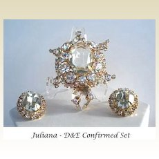 Vintage Adorable Juliana (D&E) Turtle Set Brooch/Pin & Earrings Art Glass Stones Rhinestones