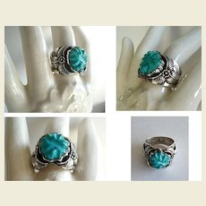 Rare Signed Max Luthy Shop Carved Turquoise Sterling Silver Ring Native American Navajo Overlays