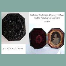 Antique Victorian Daguerreotype In Highly Ornate Ornate Gutta Percha Union Case
