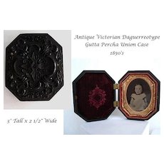 Antique Victorian Daguerreotype In Highly Ornate Ornate Gutta Percha Union Case